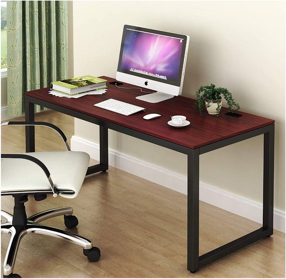 This image has an empty alt attribute; its file name is SHW-Desks-SHW-Home-Office-55-Inch-Large-Computer-Desk-shwdesks.com-Black-Cherry-Espresso-Silver-Frame-W-Grey-Top-Walnut-Oak_ys.jpg